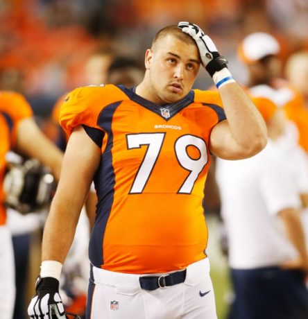 Aug 7, 2014; Denver, CO, USA; Denver Broncos offensive lineman Michael Schofield (79) during the game against the Seattle Seahawks at Sports Authority Field at Mile High. The Broncos won 21-16. Mandatory Credit: Chris Humphreys-USA TODAY Sports