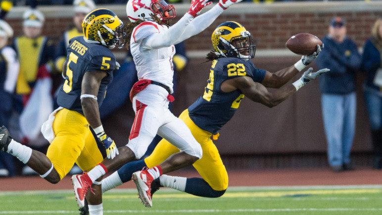 The University of Michigan football team hosts Rutgers at Michigan Stadium in Ann Arbor on Nov. 7, 2015.