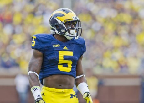 20 September 2014: Michigan defensive back Jabrill Peppers (5) gets into position in an NCAA college football game between the Michigan Wolverines and Utah, at Michigan Stadium in Ann Arbor, Michigan.