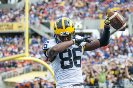 Senior wide receiver Jehu Chesson celebrates a touchdown against Florida at the Citrus Bowl.